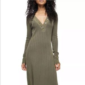 Free People Maxi Dress Army Green Henley Ribbed M